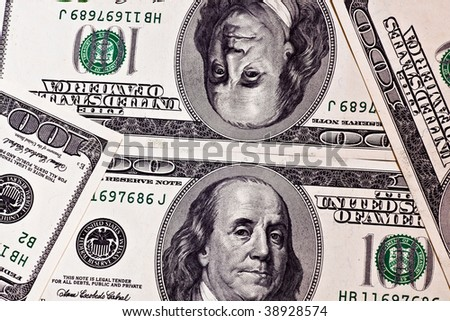 One hundred dollar banknotes pattern background