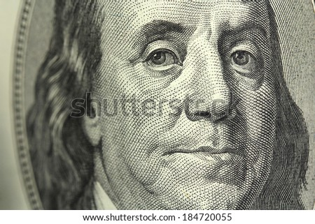 One hundred dollar bill closeup - stock photo