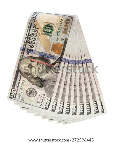 one hundred dollar bill cutout on white background - stock photo