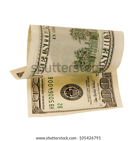 one hundred dollar bill, isolated - stock photo