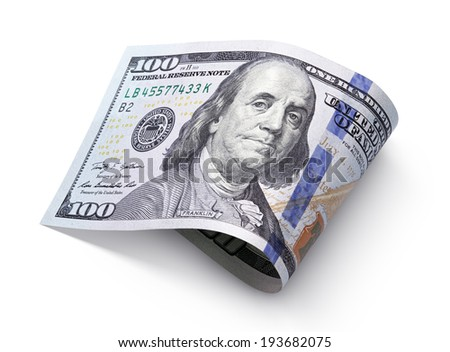 One hundred dollar bill isolated on white with clipping path - stock photo
