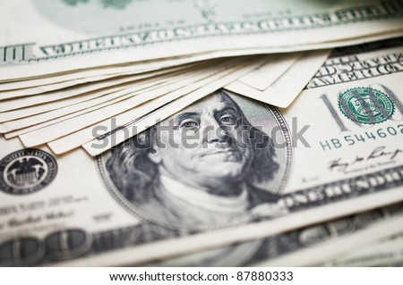one hundred dollar bills - stock photo