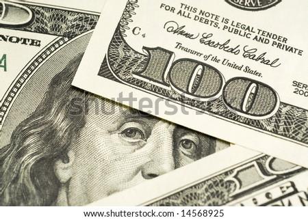 One hundred dollar bills background - stock photo