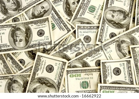 One hundred dollar bills background