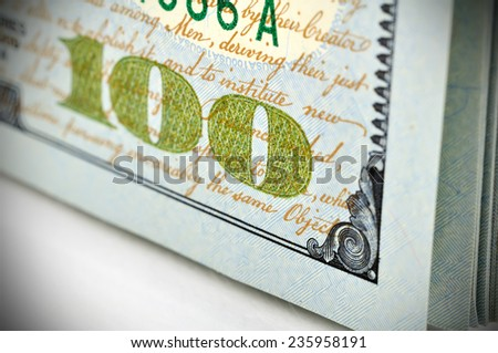 one hundred dollar bills, close up - stock photo