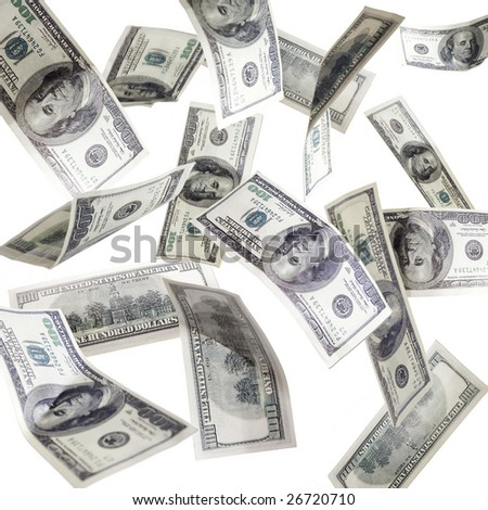 One hundred dollar bills falling, isolated on white - stock photo