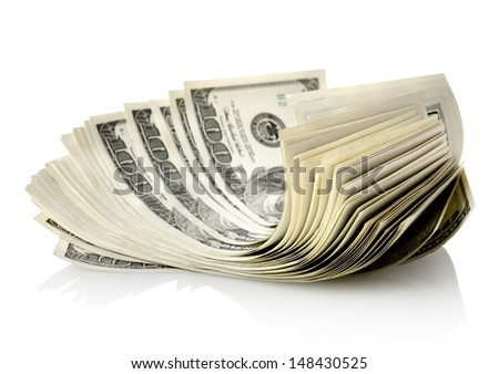 One hundred-dollar bills isolated on a white background - stock photo