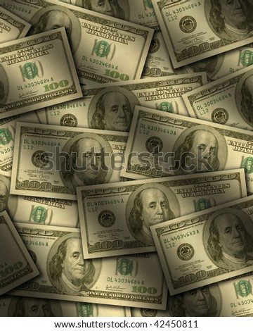 One hundred dollar bills lying flat, with window light raking across. Vertical - stock photo