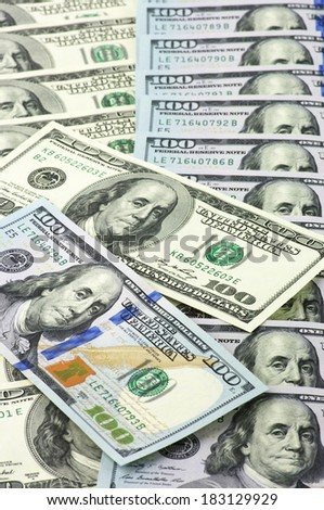 One hundred dollar bills new and old design. - stock photo