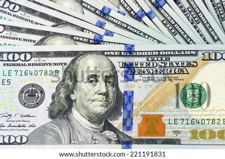 One hundred dollar bills new design. - stock photo