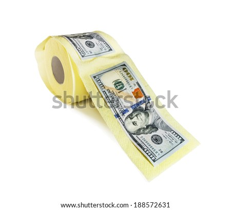 one hundred dollar bills on a roll of toilet paper on a white background