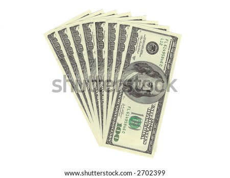 One hundred dollar bills on a white background. - stock photo