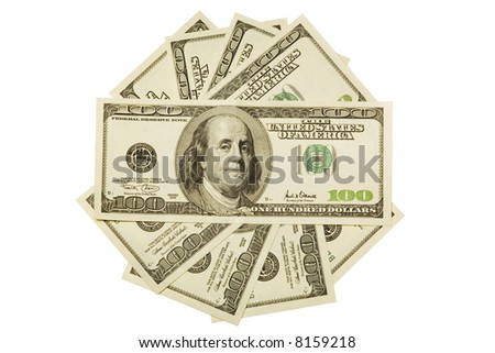 One hundred dollar bills on white background. Isolated.