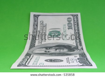 One hundred dollar note #6, focus is set in the foreground - stock photo