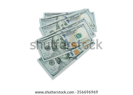 One hundred dollars banknote isolate on white background - stock photo