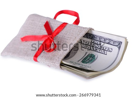 One hundred dollars banknotes in bag on white background