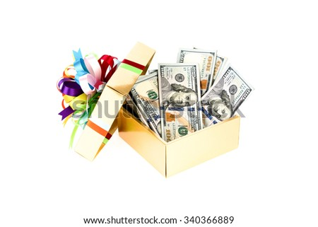 One hundred dollars banknotes in decorated gift box. - stock photo