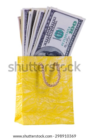 One hundred dollars banknotes in package closeup isolated - stock photo