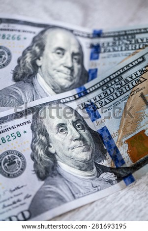 One hundred dollars banknotes isolated - stock photo