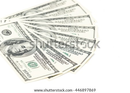 One hundred dollars banknotes isolated on white