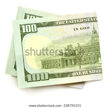 One hundred dollars banknotes isolated on white background