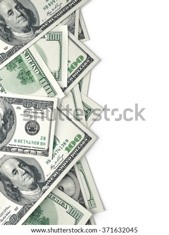 One hundred dollars banknotes isolated on white background , 3d render - stock photo
