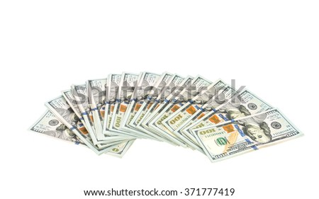 One hundred dollars banknotes on white background