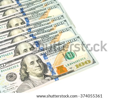One hundred dollars banknotes on white background - stock photo