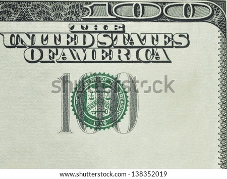 one hundred  dollars bill macro - stock photo