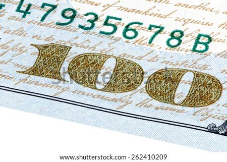 One hundred dollars bill macro stacked photo. - stock photo