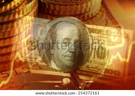 One hundred dollars in clip over magnifier lens. Finance concept - stock photo