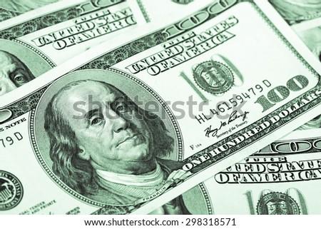 One hundred dollars. Macro. - stock photo