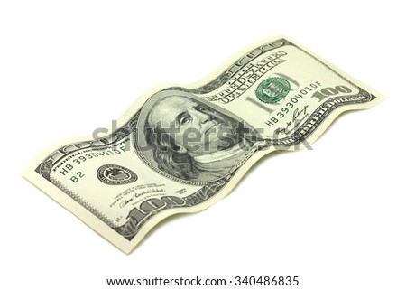 one hundred dollars on a white background - stock photo