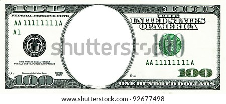 One hundred dollars with a hole instead of a face - stock photo