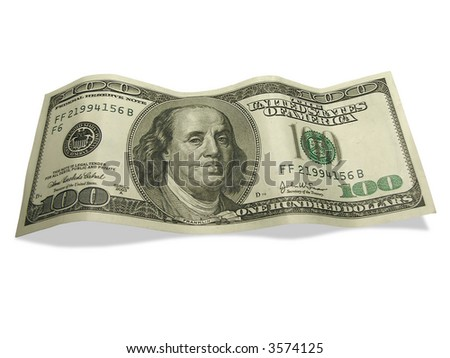 One hundred dollars with shadow isolated on white background