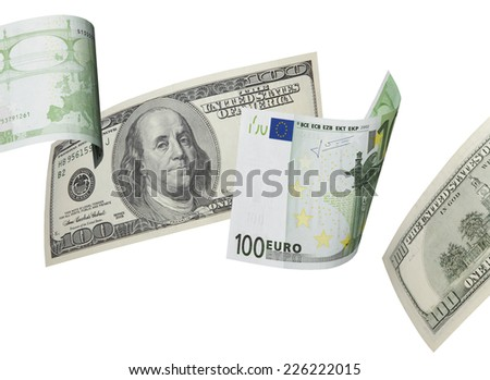 One hundred euro and dollar bill collage isolated on white. Horizontal format