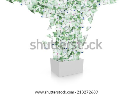 One hundred euro banknotes flying and streaming from white box, isolated on white background. - stock photo