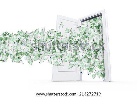 One hundred euro banknotes flying and streaming on windy air out of open real estate door, isolated on white background. - stock photo