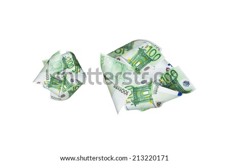 One hundred euro banknotes flying, isolated on white background.