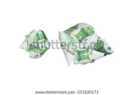 One hundred euro banknotes flying, isolated on white background. - stock photo