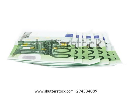 one hundred euro banknotes on white - stock photo