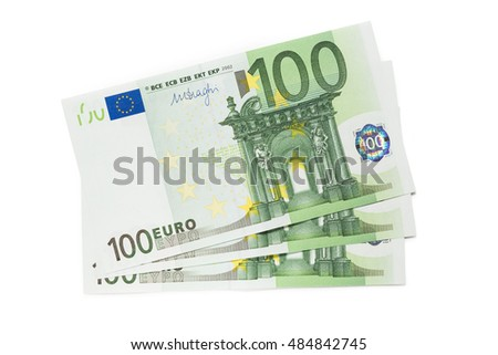 One hundred euro banknotes on white background