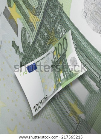 One hundred euro bills collage with green tone. Vertical format