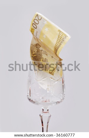One hundred euro in glass - stock photo