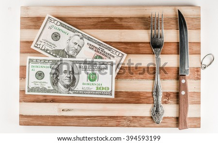 one hundred, fifty dollars a plate with knife and fork