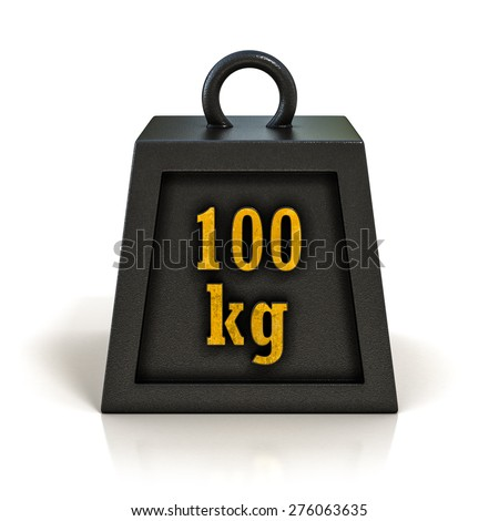 One Hundred Kilograms (100 kg) Weight Isolated on White Background
