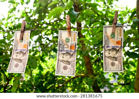 One hundred new dollars fixed on a rope with a clothes peg - stock photo