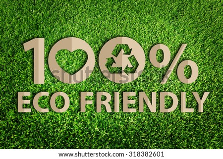 one hundred percent eco friendly word paper cut of eco on green grass