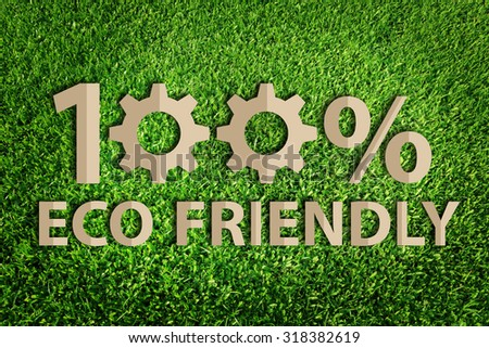 One hundred percent eco friendly word. Paper cut of eco on green grass.