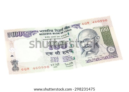 One hundred rupee note (Indian currency) isolated on a white background. - stock photo